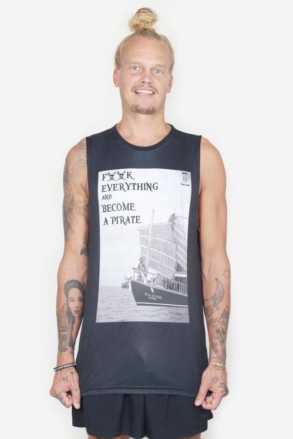 Sleeveless Pirate Tee (Men's, Black, Front)
