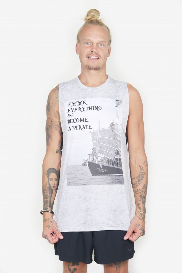 Sleeveless Pirate Tee (White, Front)