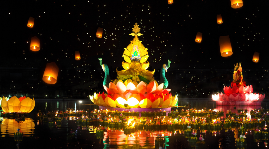 Loi Krathong lantern festival - Krabi Island Thailand
